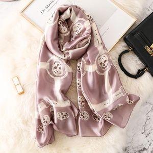 Silk Skull Scarf Light Pink / Mauve & Ivory
